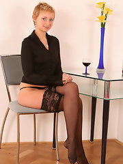 Hot mature mother in black stockings