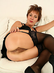 Matures in black nylons